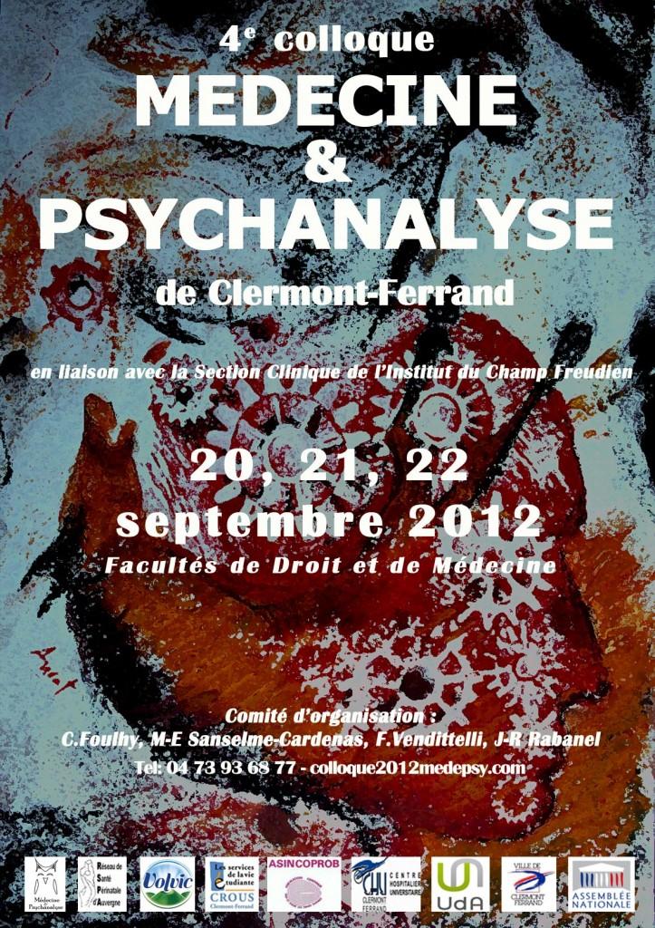 Affiche du 4ème colloque Médecine et Psychanalyse